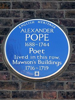 Alexander pope 1688 1744 poet lived in this row mawson%27s buildings 1716 1719