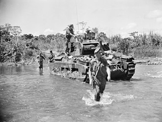 3rd Division (Australia) - Troops from the 3rd Division cross the Hongorai River alongside Matilda tanks from the 2/4th Armoured Regiment in May 1945