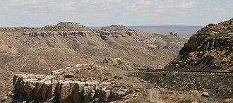 Second Mesa, Arizona - Mishongnovi as seen from the Arizona State Route 264 at the ascent to Shungopavi