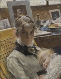 A Studio Idyll. The Artist's Wife and their Daughter (Carl Larsson)