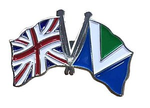 Vegetarian and vegan symbolism - Image: A badge with Vegan and the Union Jack flags