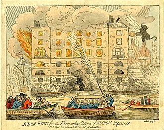 Albion Mills, Southwark - Illustration of the fire by Samuel William Fores, 2 March 1791