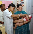 A child being administered Polio Vaccine at a Pulse Polio Immunization camp, in New Delhi on May 24, 2009.jpg