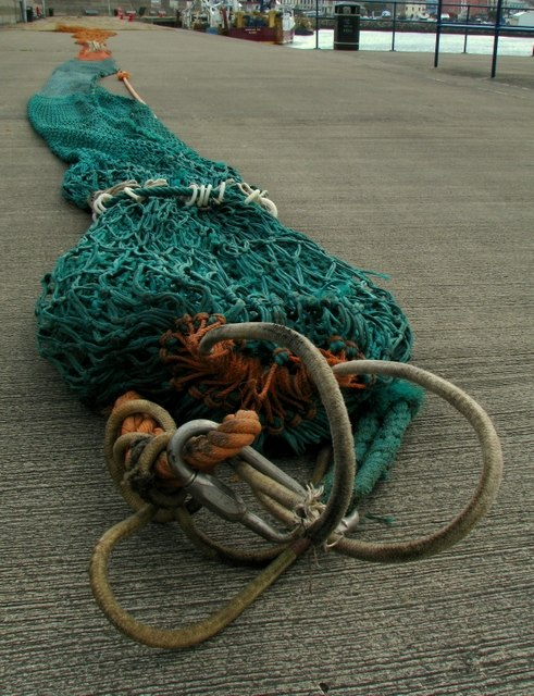 A close look at a fishing net, Bangor - geograph.org.uk - 958876