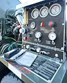A fuel pump control panel monitors levels as U.S. Airmen assigned to the 436th Logistics Readiness Squadron conduct a refueling operation with a C-5 Galaxy aircraft at Dover Air Force Base, Del., Oct. 2, 2013 131002-F-VV898-014.jpg