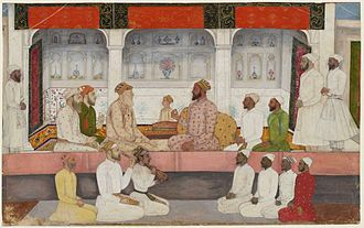 Sayyid brothers - Image: A seated portrait of Sayyid Abdullah Khan holding court Early 18th century The British Museum