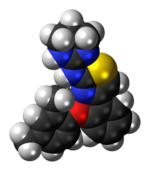 Space-filling model of the abafungin molecule