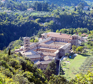 Abbey of Saint Scholastica, Subiaco - Aerial view of St. Scholastica's Abbey