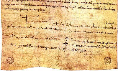 The signatures of William I and Matilda are the first two large crosses on the Accord of Winchester from 1072.
