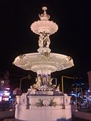 Night time view of Adam's fountain
