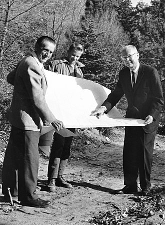 Adolf Schoepe - Schoepe (on left) with Boy Scout camp plans, 1963