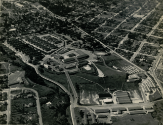 Civil Affairs Staging Area -  Aerial view of barracks occupied by soldiers and sailors of the Civil Affairs Staging Area (CASA) at the Presidio of Monterey during the Spring of 1945.