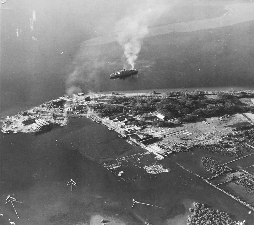 Aerial photo of the former US Naval station Olongapo on 15 December 1944