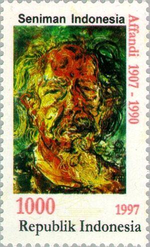 Affandi - Affandi, self-portrait on a 1997 stamp
