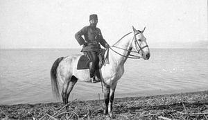 Djemal Pasha - Ahmed Djemal on the shore of the Dead Sea in 1915.