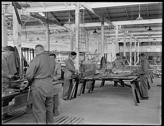 Clyde Engineering - Men at work in the aircraft workshop at Clyde Engineering