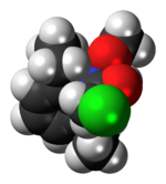 Space-filling model of the alachlor molecule
