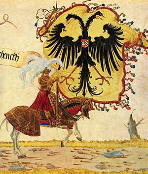 Reichsadler - Left: Emperor Henry VI (Hadlaub, Codex Manesse, about 1300), original single-headed eagle. Right: Emperor Maximilian with the Imperial Banner (Albrecht Altdorfer, ca. 1515), double-headed eagle with haloes.