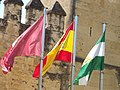 Alcázar de los Reyes Cristianos - Calle Cabellerizas Reales, Cordoba - Spanish and Andalusian flags (14755930384).jpg