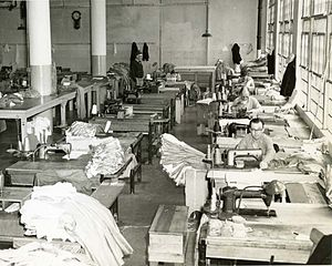 New Industries Building - Inmates working in the sewing room