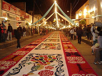 Huamantla - Section of a carpet laid out on the streets of the city