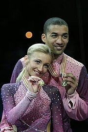 Aliona Savchenko & Robin Szolkowy Podium 2008 Worlds.jpg