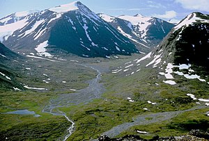 Sarek National Park - Alggavagge, in Sarek National Park. The Scandinavian Mountains were made by an ancient plateau being strongly eroded.