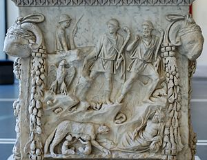 Ab Urbe Condita Libri (Livy) - Stories from Livy I.4, on an altar panel from Ostia. Father Tiber looks on at the lower right while the national lupa (wolf) nourishes Romulus and Remus, founders of Rome. The herders are about to find them. One of their goats can be seen. Small animals denote the wildness of the place. The national aquila (eagle) is portrayed.