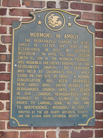 Amboy Conference - Image: Amboy Il Downtown Mormon Plaque