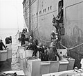 American troops climb into assault landing craft from the liner REINA DEL PACIFICO during Operation 'Torch', the Allied landings in North Africa, November 1942. A12647.jpg