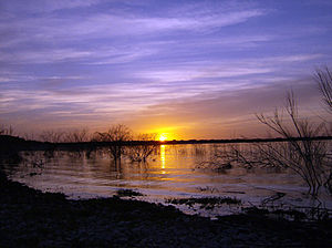 Amistad National Recreation Area - Amistad Reservoir at sunset