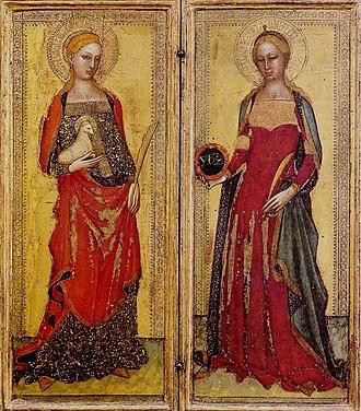 Flavia Domitilla (saint) - Andrea di Bonaiuto da Firenze. St. Agnes and St. Domitilla. 1365. Galleria dell'Accademia, Florence.