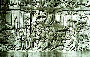History of Cambodia - Archers mounted on elephants