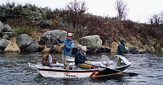 McKenzie River dory - Anglers fly fishing drift boat