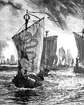 Black and white illustration of Viking king, looking out from his warship, at the head of his fleet.