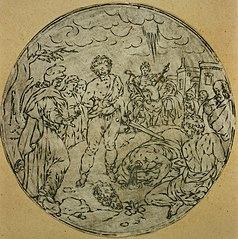 Medallion depicting David and Goliath (?)