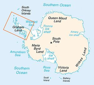 Antarctic Peninsula - Location of the Antarctic Peninsula within Antarctica.