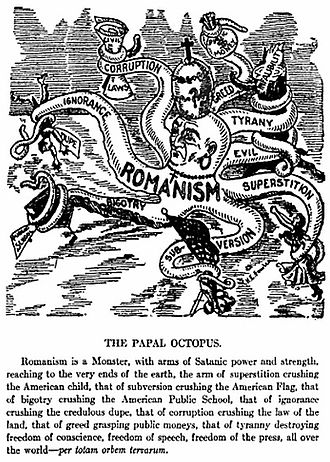 Anti-Catholicism in the United States - Anti-Catholic cartoon depicting the Church and the Pope as a malevolent octopus, from the H.E. Fowler and Jeremiah J. Crowley's 1913 anti-Catholic book, The Pope: Chief of White Slavers High Priest of Intrigue