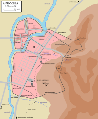 526 Antioch earthquake - Map of Antioch in the 6th century