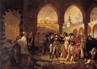 Napoleón visita a los enfermos de peste en Jaffa.