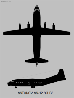 Antonov An-12 Cub two-view silhouette.png