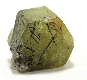 Inclusion (mineral) - Dark inclusions of aegerine in light-green apatite
