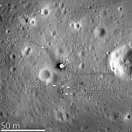 Tranquility Base, imaged in March 2012 by the Lunar Reconnaissance Orbiter Apollo11-LRO-March2012.jpg