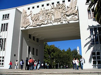 Academy (educational institution) - Students and scholars at the entrance to the University of Concepción, Chile