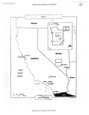 National Security Archive - The CIA's declassified map of Groom Lake/Area 51 disclosed to the National Security Archive thanks to a FOIA request.