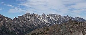 Stuart Range - Argonaut Peak, left center; Colchuck Peak, center; Dragontail Peak, right center; from the southwest