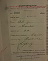Ark Gon Auckland Chinese poll tax certificate butts Certificate issued at Auckland.jpg