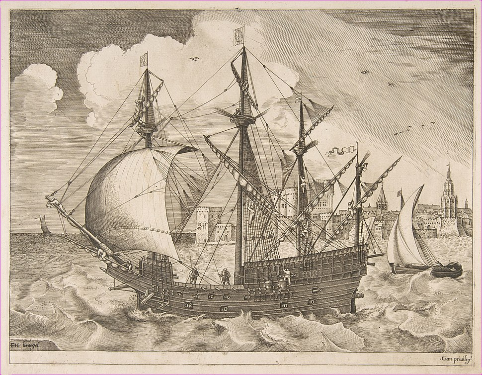 Armed Four-Master Putting Out to Sea from The Sailing Vessels MET DP818236