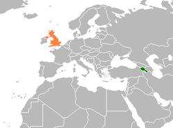 Map indicating locations of Armenia and United Kingdom