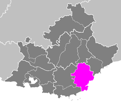 Location of Draguignan in Provence-Alpes-Côte d'Azur